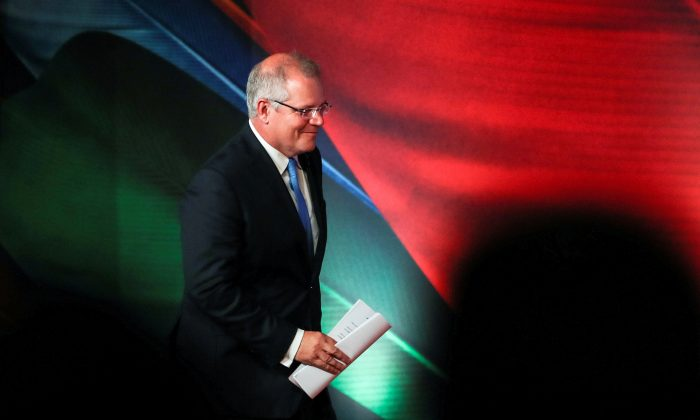 Prime Minister of Australia Scott Morrison arrives for APEC CEO Summit 2018 at Port Moresby, Papua New Guinea on Nov. 17, 2018. (Fazry Ismail/Pool via Reuters)