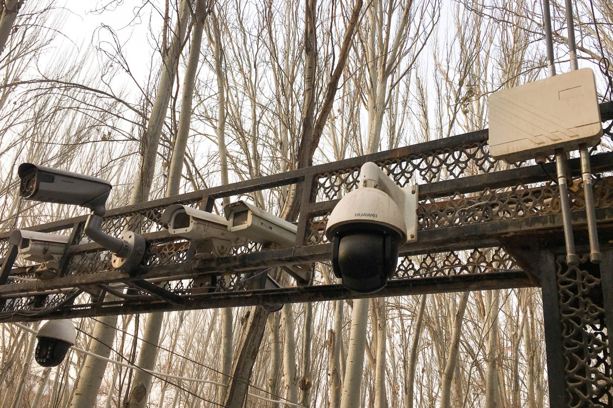 Security cameras are installed at the entrance to the Id Kah Mosque during a government organised trip in Kashgar