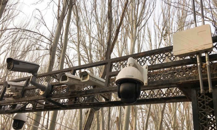 Security cameras are installed at the entrance to the Id Kah Mosque during a government organized trip in Kashgar, Xinjiang Uyghur Autonomous Region, China. Picture taken Jan. 4, 2019. (Ben Blanchard/Reuters)