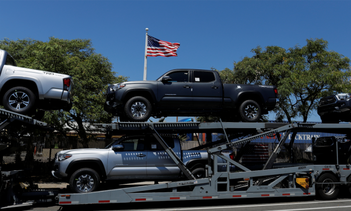 Toyota trucks are shown on a car carrier for delivery after arriving in National City, Calif., June 27, 2018. (REUTERS/Mike Blake.)