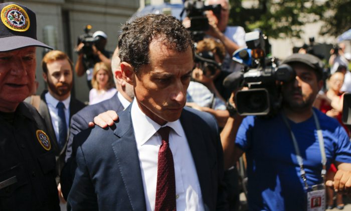 Former Democratic Congressman Anthony Weiner (C) exits federal court in Manhattan after pleading guilty in sexting case on May 19, 2017 in New York City, N.Y.. (Eduardo Munoz Alvarez/Getty Images)