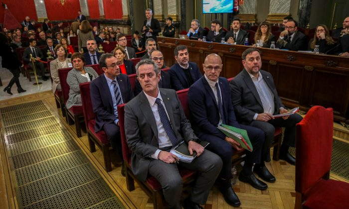 Former Catalan leaders attend their trial at the Supreme Court in Madrid, Spain, on Feb. 12, 2019. (Emilio Naranjo-Pool/Getty Images)