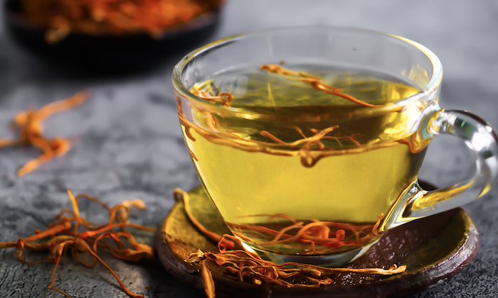 A cup of cordyceps (chong cao) tea. (Shutterstock)