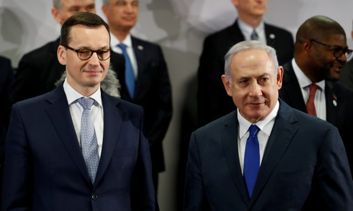 Poland's Prime Minister Mateusz Morawiecki and Israel's Prime Minister Benjamin Netanyahu look on during the Middle East summit in Warsaw, Poland, Feb. 14, 2019. (Kacper Pempel/Reuters)