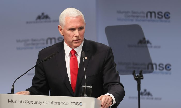 Vice President Michael Pence gives a speech during the 55th Munich Security Conference in Munich, Germany, on Feb. 16, 2019. (Alexandra Beier/Getty Images)