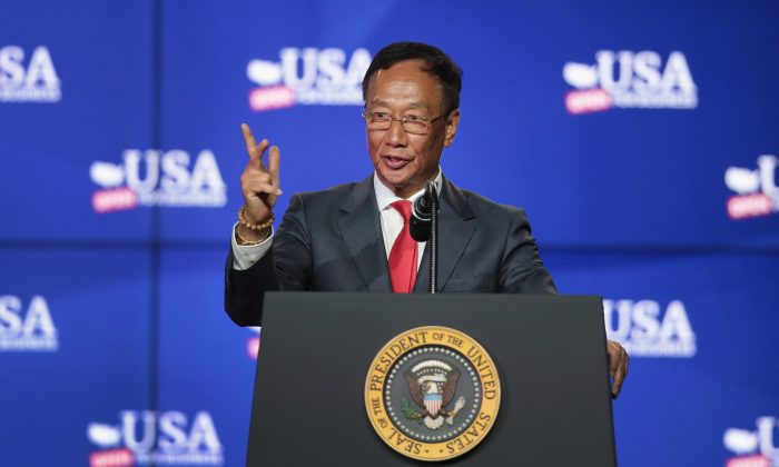 Terry Gou, chairman of Foxconn Technology Group, speaks at a groundbreaking ceremony for the proposed Foxconn complex on June 28, 2018 in Mt. Pleasant, Wisconsin. (Scott Olson/Getty Images)