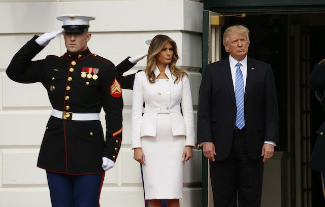 President Donald Trump and First Lady Melania Trump await the arrival of Israeli Prime Minister Benjamin Netanyahu and his wife Sara at the South Portico of the White House in Washington, on Feb. 15, 2017. (Kevin Lamarque/Reuters)