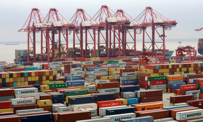 Containers are seen at the Yangshan Deep Water Port in Shanghai, China on April 24, 2018. (Aly Song/Reuters)