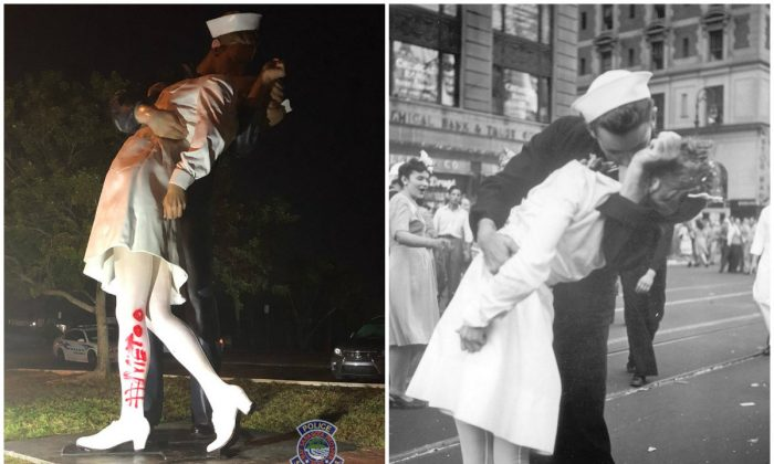 "A statue based on an iconic photo was vandalized with the text ""#MeToo"" on Feb. 19, 2019. (Sarasota Police and Victor Jorgensen/U.S. Navy, File)"