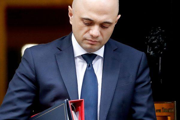 Britain's interior minister Sajid Javid leaves 10 Downing Street