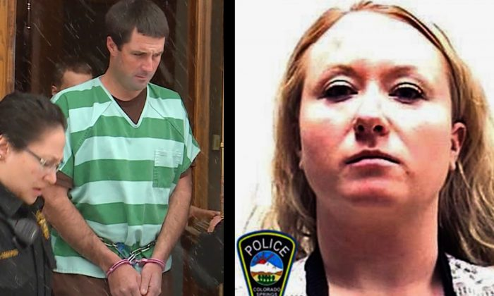 Photo shows Patrick Frazee (L) and Krystal Jean Lee Kenney (R). (Colorado Springs Police Department—Chappin Everett/The Gazette via AP)