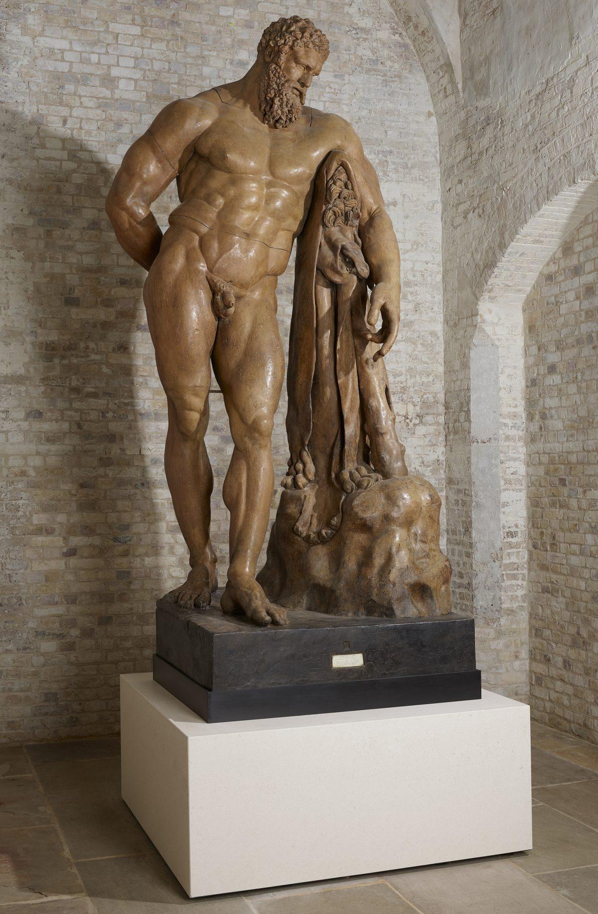 Hercules classic sculpture with Nemean lion