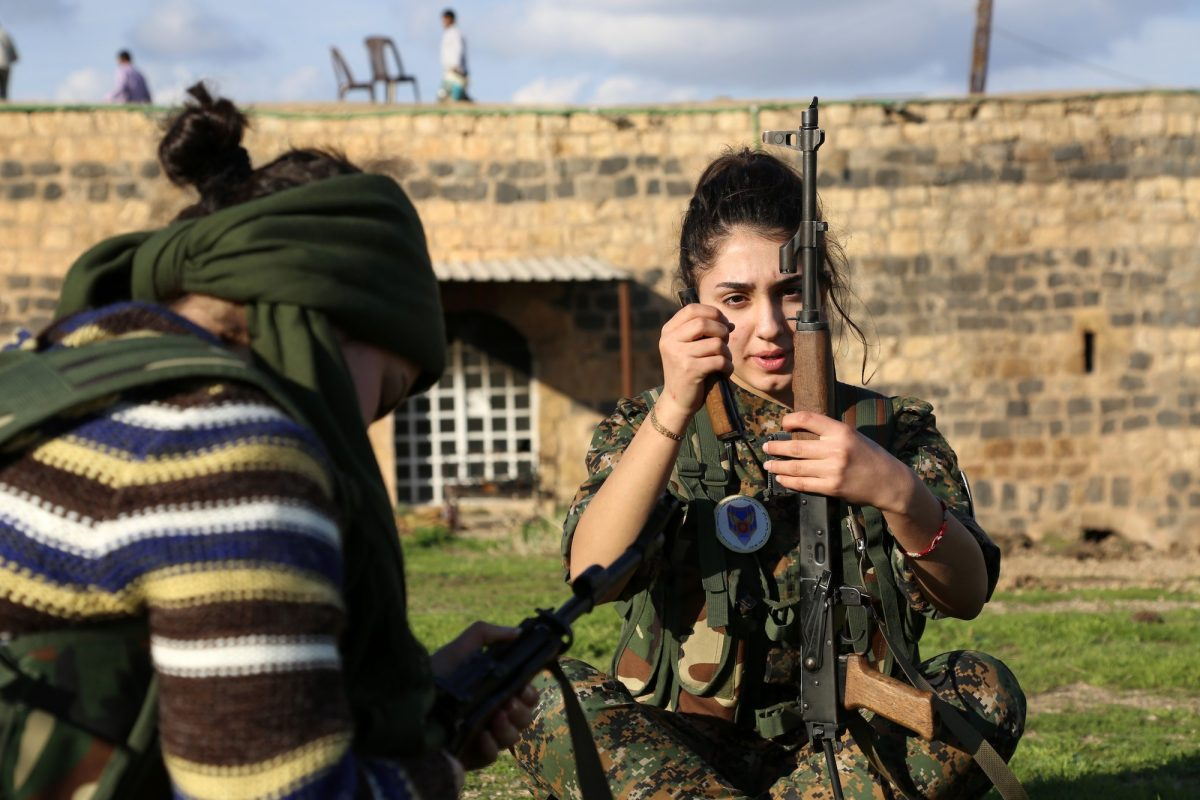 a female Kurdish soldier