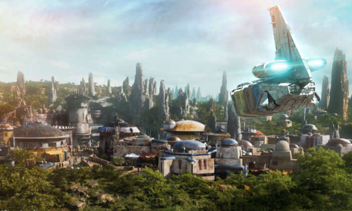 Star Wars: Galaxy's Edge at Disneyland park in Anaheim, Calif., and Disney's Hollywood Studios in Orlando, Fla., are Disney Parks' largest single-themed land expansions ever at 14-acres each, transporting guests to a never-before-seen planet, a remote trading port, and one of the last stops before wild space where Star Wars characters and their stories come to life. (Disney Enterprises, Inc./Lucasfilm Ltd.)