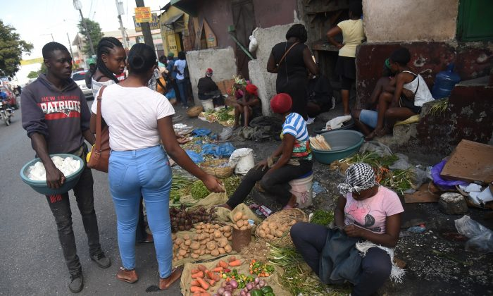 Products are sold on a street in the commune of Petion Ville in the Haitian capital Port-au-Prince,  Feb. 17, 2019. (Hector Retamal/AFP/Getty Images)