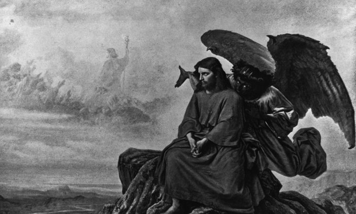 The devil tempts Jesus while he is alone in the desert, in this illustration.