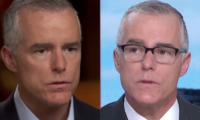 Former Deputy FBI Director Andrew McCabe in an interview with CBS News' '60 Minutes' (L), and on MSNBC's 'Morning Joe' show. (Screenshot/CBS/MSNBC)