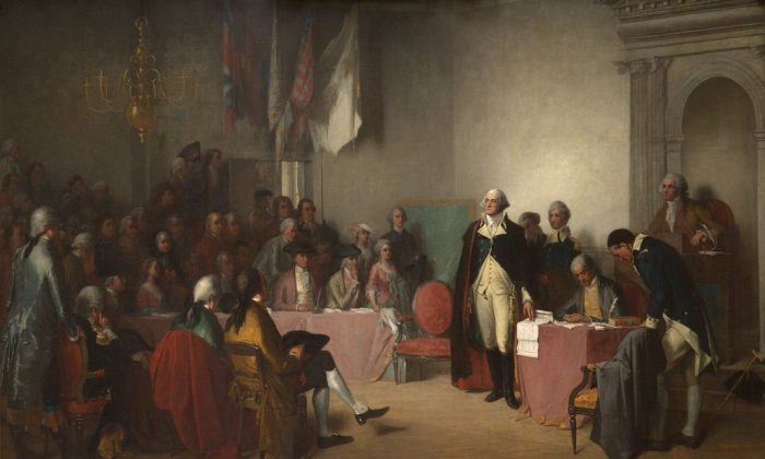 Washington Resigning His Commission. General George Washington resigned his commission as commander-in-chief of the Continental Army in the Old Senate Chamber of the Maryland State House on Dec. 23, 1783. Edwin White/Public domain