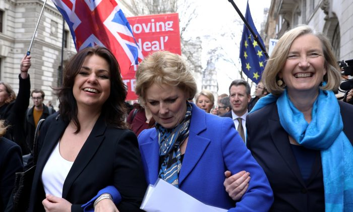 British Conservative Party MPs Heidi Allen, Anna Soubry and Sarah Wollaston arrive at a news conference in London, Britain, on Feb. 20, 2019. (Simon Dawson/Reuters)