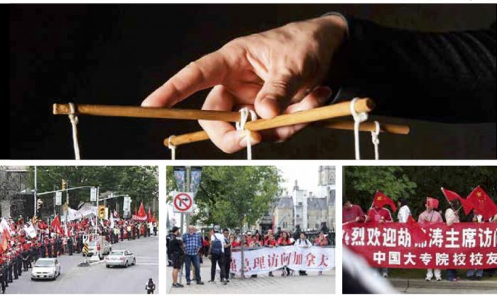 (L) Chinese students wait to welcome then-Chinese leader Hu Jintao to Ottawa on June 23, 2010. (C) Chinese students hold banners and ags to welcome Chinese Premier Li Keqiang to Ottawa on Sept. 21, 2016. (R) A crowd waving Chinese ags awaits the arrival of Hu Jintao in Vancouver on Sept. 17, 2005. (cliplab.pro/Shutterstock; Becky Zhou/The Epoch Times)