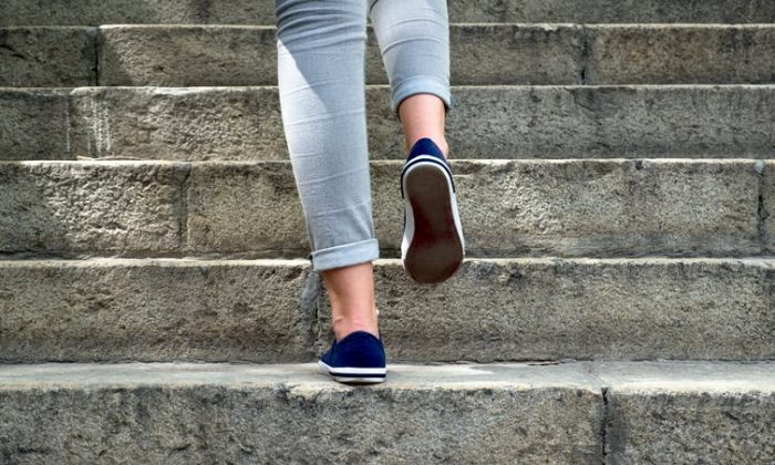 For those of us who are time poor, high intensity exercise can be incorporated into our daily routines by doing things like walking up stairs. (Shutterstock)