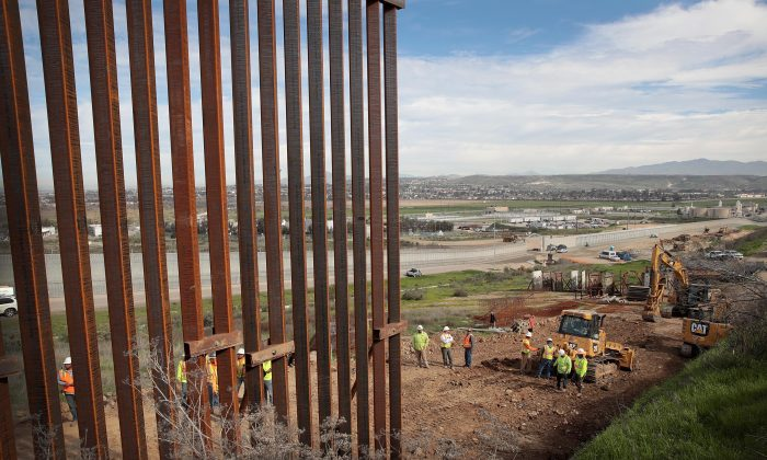 A section of border wall is constructed on the U.S. side of the border in Tijuana, Mexico, on Jan. 28, 2019. (Scott Olson/Getty Images)