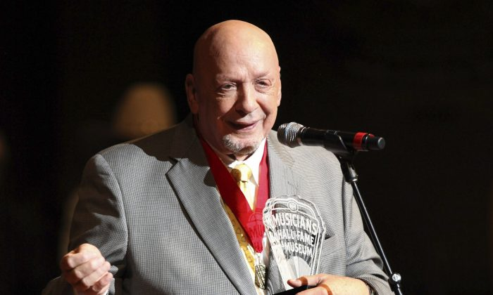 Fred Foster speaks as he is inducted into the Musicians Hall of Fame at the Musicians Hall of Fame awards show in Nashville, Tenn., on Oct. 10, 2009. (Josh Anderson, File/AP Photo)