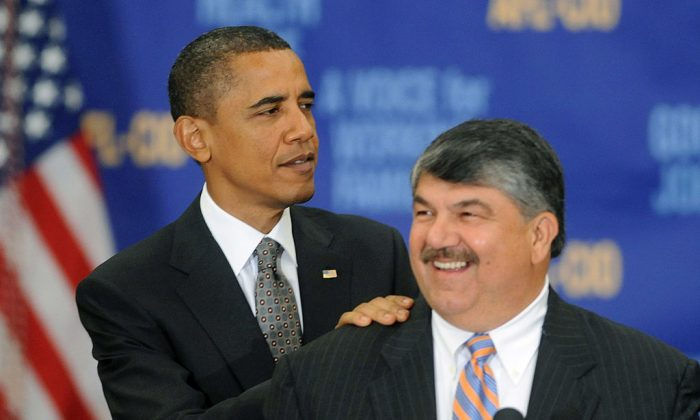 Former President Barack Obama is introduced by President of the American Federation of Labor and Congress of Industrial Organizations (AFL-CIO) Richard Trumka before he speaks on the economy to the AFL-CIO Executive Council Meeting in Washington on Aug. 4, 2010.   Michael Reynolds-Pool/Getty Images