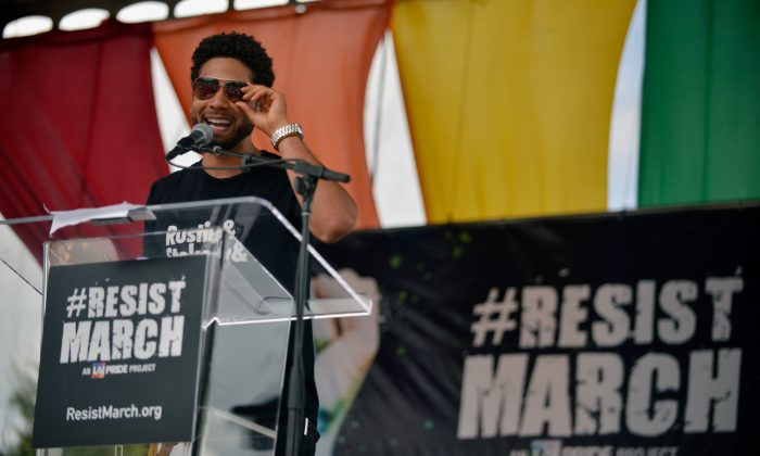 Jussie Smollett speaks during the LA Pride ResistMarch on June 11, 2017 in West Hollywood, California.  Chelsea Guglielmino/Getty Images