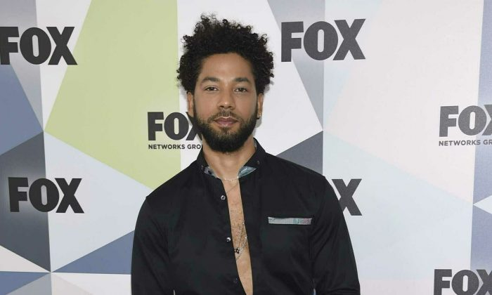 """Jussie Smollett, a cast member in the TV series """"Empire,"""" attends the Fox Networks Group 2018 programming presentation afterparty in New York, on May 14, 2018. (Evan Agostini/Invision/AP, File)"""