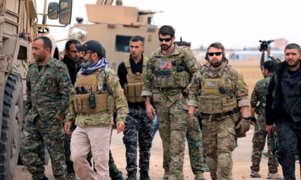 Syrian Democratic Forces and U.S. troops