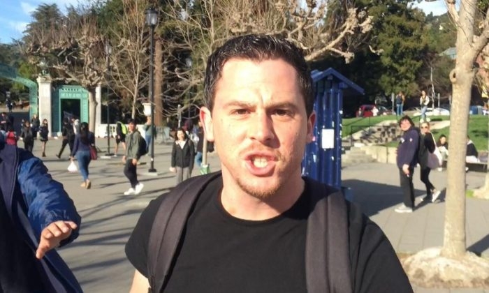 The person who attacked conservative activist Hayden Williams at the University of California at Berkeley on Feb. 20, 2019. (Courtesy of Brad Devlin, @bradleydevlin/Twitter)