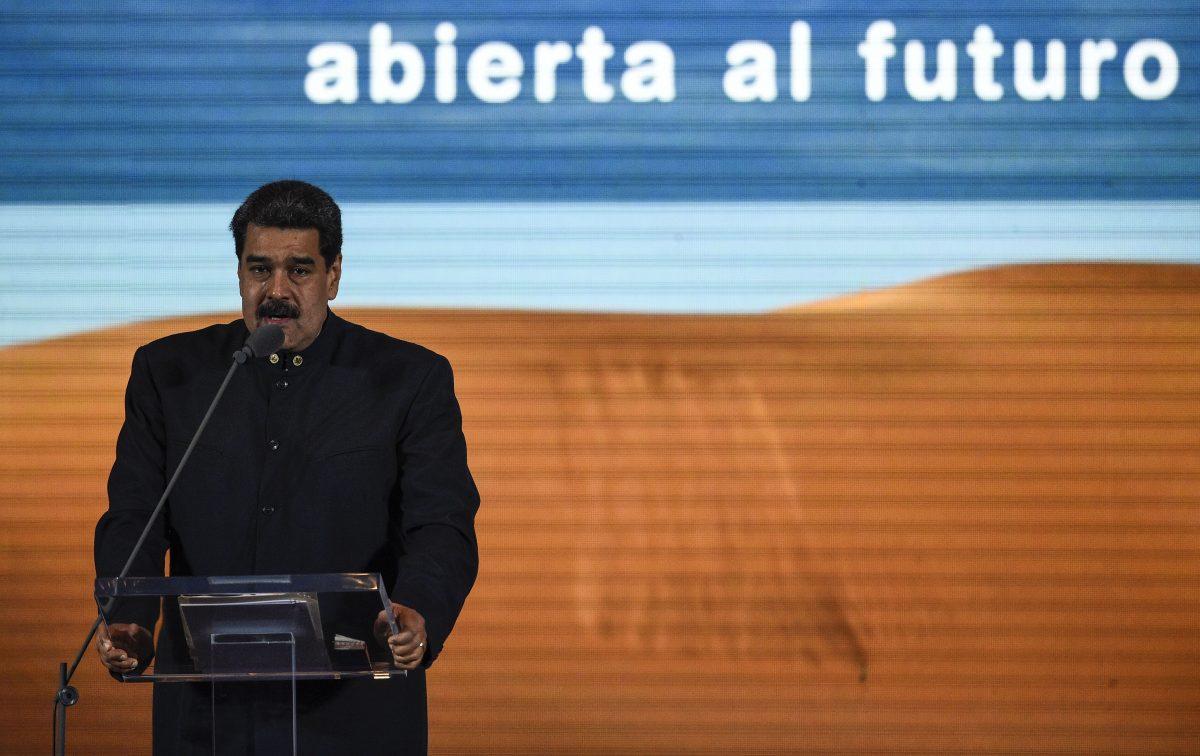 Venezuelan President Nicolas Maduro speaks to businessmen during the presentation of Venezuela's nation-brand in Caracas