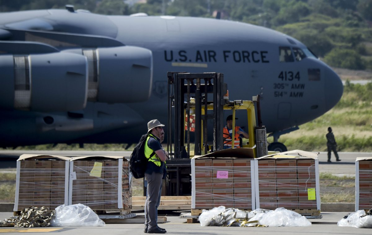 Food and medicine aid for Venezuela is unloaded from a US Air Force C-17 aircraft at Camilo Daza International Airport in Cucuta, Colombia in the border with Venezuela