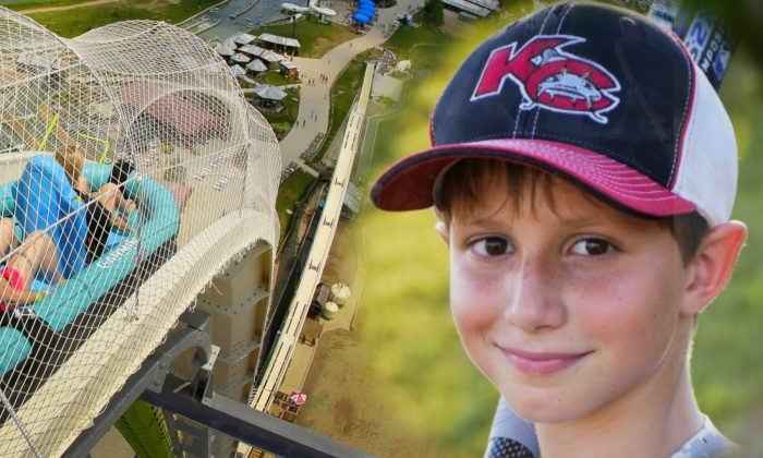 """Left: Riders go down the water slide called """"Verruckt."""" Right: Caleb Schwab, shown here in a June 2016 photo, was killed while riding the Verruckt water slide in Aug. 2016. (David Strickland—Charlie Riedel/AP)"""