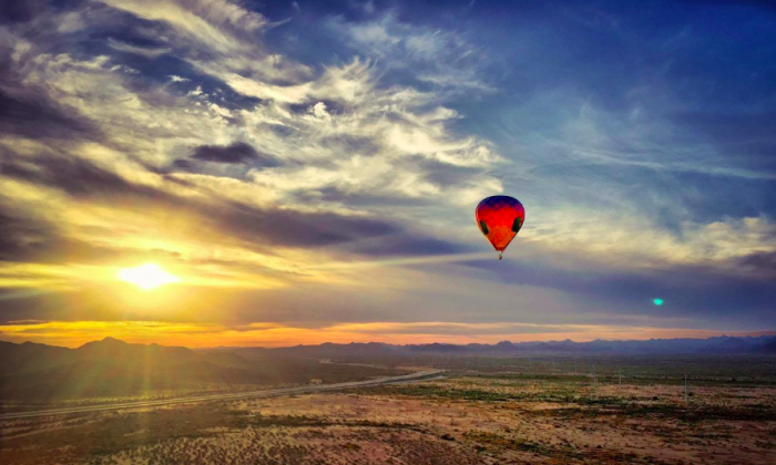 Flying over the Sonoran Desert at sunrise with Hot Air Expeditions. (Hot Air Expeditions)