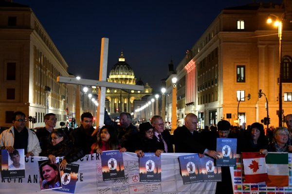 Members of Ending Clergy Abuse protest at the Vatican