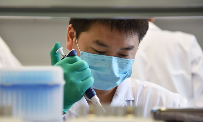 A technician works at a DNA tech lab in Beijing on Aug. 22, 2018. (GREG BAKER/AFP/Getty Images)