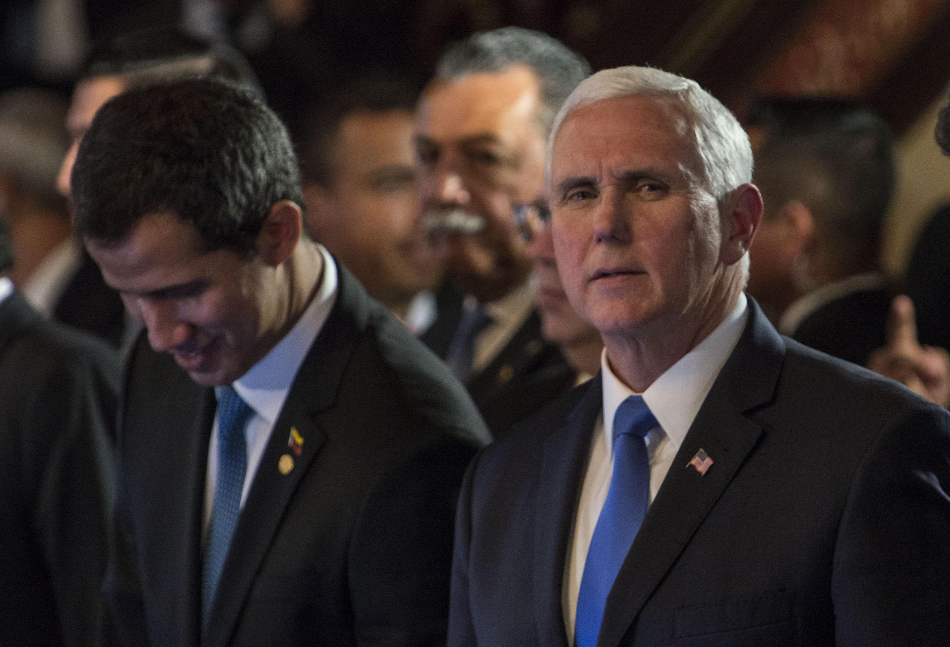 Vice President Mike Pence and Juan Guaido