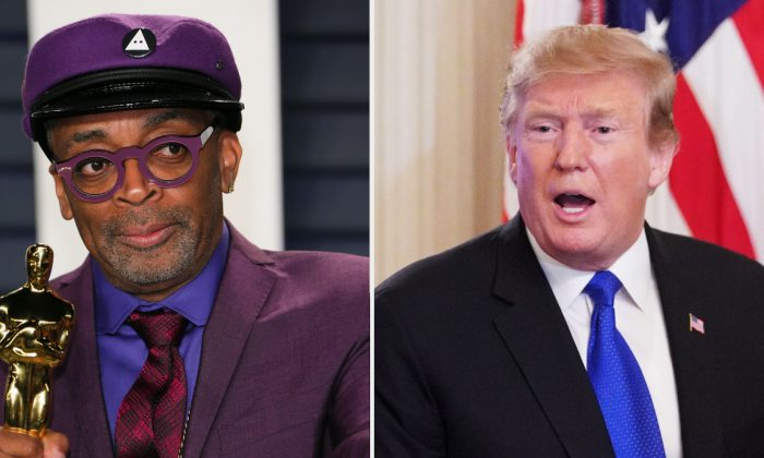 (L) Best Adapted Screenplay winner for 'BlackKklansman' Spike Lee attends the 2019 Vanity Fair Oscar Party following the 91st Academy Awards at The Wallis Annenberg Center for the Performing Arts in Beverly Hills, on Feb. 24, 2019. (JB Lacroix/AFP/Getty Images); President Donald Trump greets attendees after addressing the 2019 White House business session with governors in the State Dining Room of the White House in Washington, on Feb. 25, 2019. (Mandel Ngan/AFP/Getty Images)