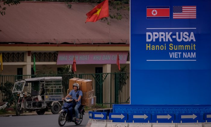 A public signboard welcomes the upcoming summit between U.S. President Donald Trump and North Korean Leader Kim Jong Un, near the U.S. Embassy in Hanoi, Vietnam, on Feb. 21, 2019. (Linh Pham/Getty Images)