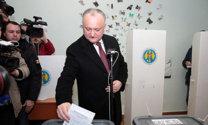 Moldovan President Igor Dodon casts his ballot at a polling station during a parliamentary election in Chisinau, Moldova, on Feb. 24, 2019. (Vladislav Culiomza/File Photo/Reuters)