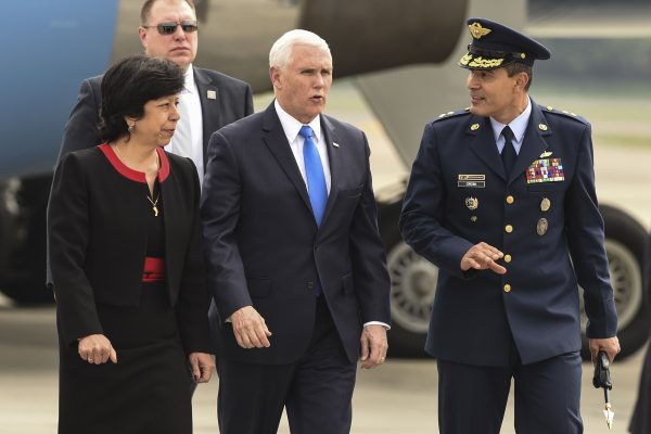 US Vice President Mike Pence (C) is welcomed by Colombia's Foreign Affairs Vice Minister