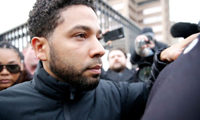 Empire actor Jussie Smollett leaves Cook County jail after posting bond on February 21, 2019 in Chicago, Illinois. Smollett has been accused with arranging a homophobic, racist attack against himself in an attempt to raise his profile because he was dissatisfied with his salary. (Nuccio DiNuzzo/Getty Images)