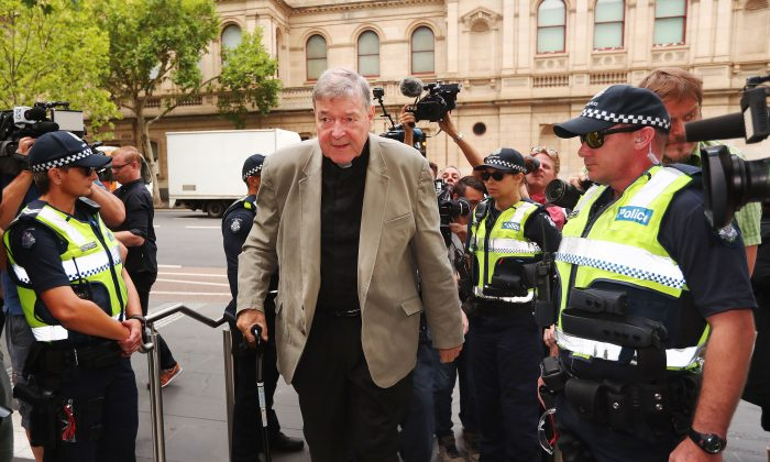 Cardinal George Pell arrives at County Court in Melbourne, Australia, on Feb. 26, 2019. (Michael Dodge/Getty Images)