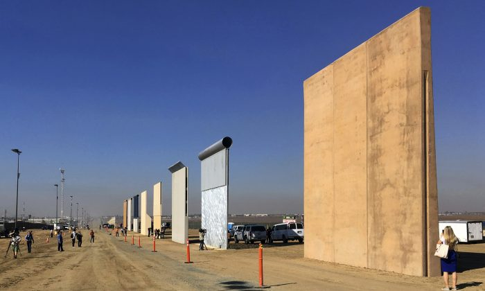 Customs and Border Protection said on Feb. 22, 2019, the border-wall prototypes will be torn down to make way for a secondary barrier construction. Border-wall prototypes, in San Diego, Calif., on Oct. 26, 2017. (Elliott Spagat/Ap Photo)