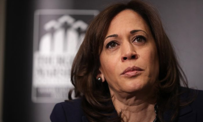 Democratic presidential candidate Sen. Kamala Harris (D-Calif.) participates in an interview and question-and-answer session at the JW Marriott in Washington on Feb. 7, 2019. (Chip Somodevilla/Getty Images)