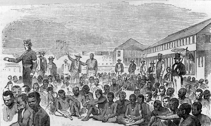 A group of liberated slaves at Fort Augusta, Jamaica, in 1857, after the slave ship they were imprisoned in was captured by an English destroyer. (HultonArchive/Illustrated London News/Getty Images)