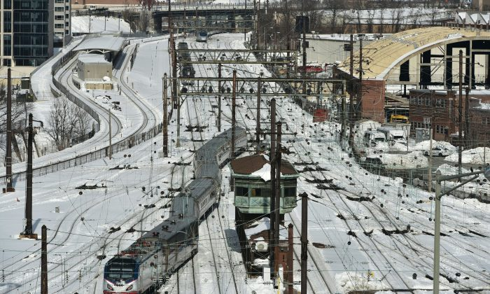 An Amtrak train is seen at Union Station on Jan. 25, 2016 in Washington.                                            (Mandel Ngan/AFP/Getty Images)