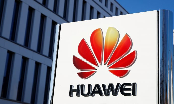 The logo of Huawei Technologies is pictured in front of the German headquarters of the Chinese telecommunications giant in Duesseldorf, Germany on Feb. 18, 2019. (Wolfgang Rattay/Reuters)